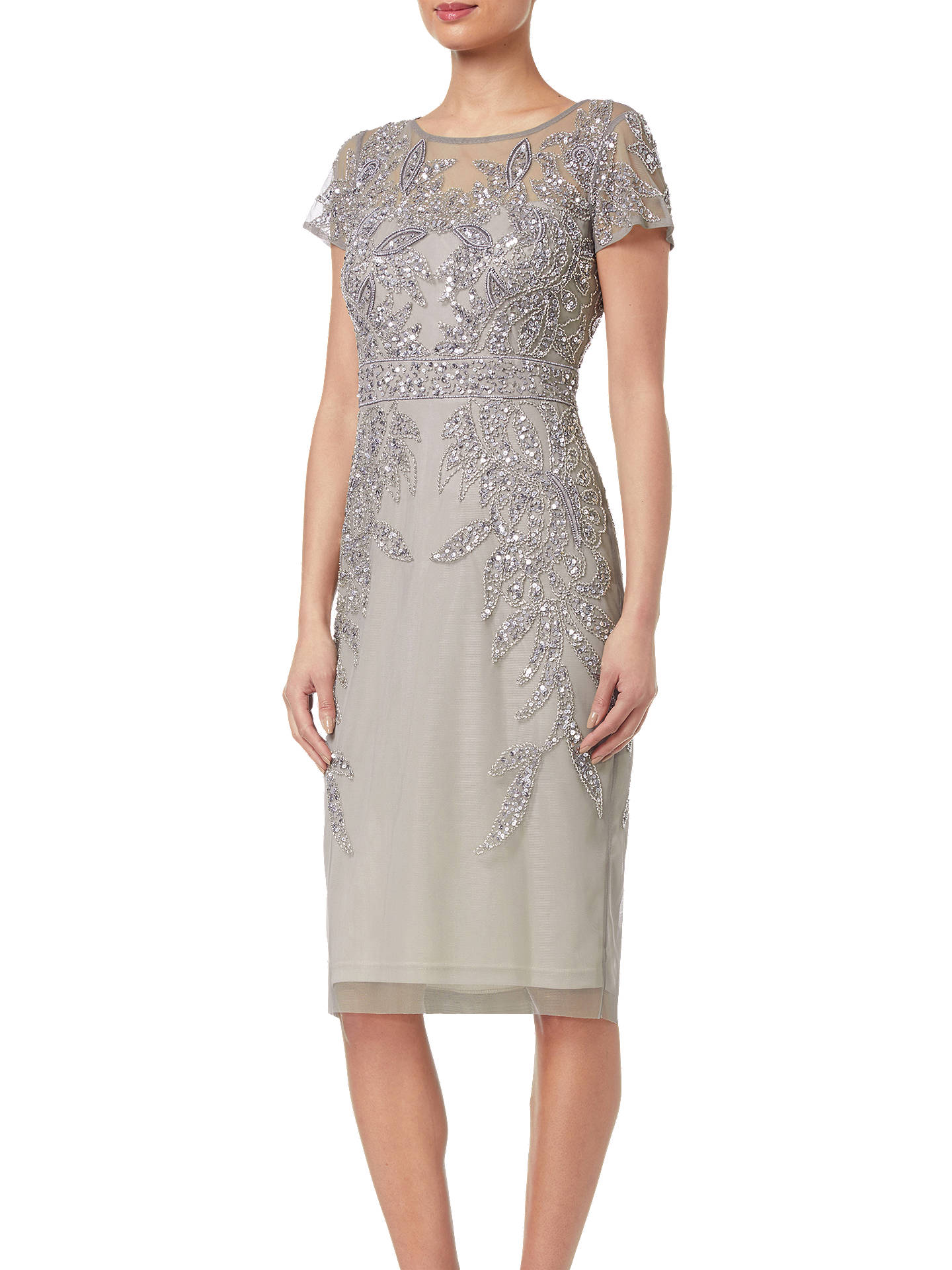 a01915574 Buy Adrianna Papell Short Sleeve Beaded Cocktail Dress, Platinum, 8 Online  at johnlewis.
