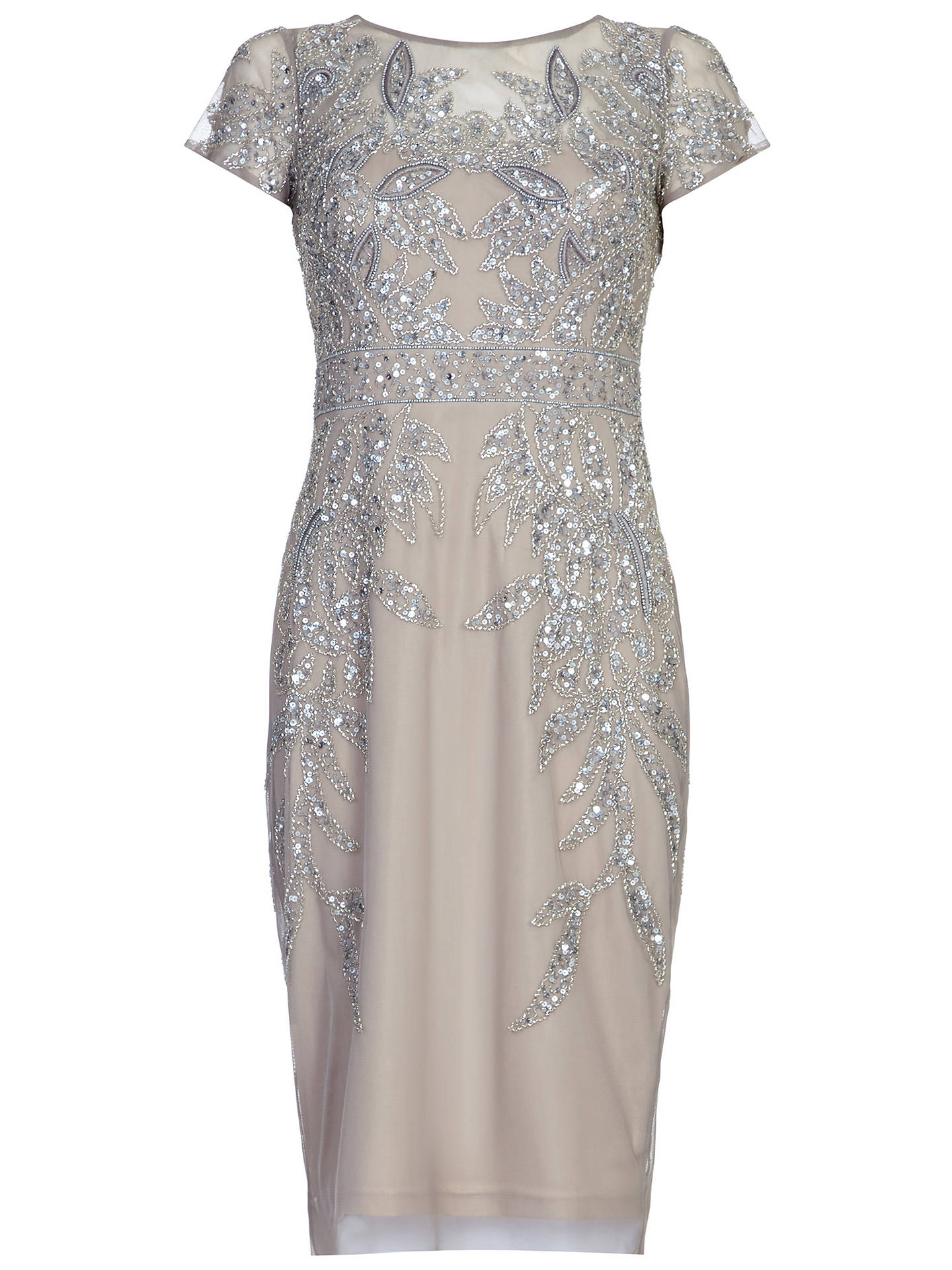 8242ea2d811 Adrianna Papell Short Sleeve Beaded Cocktail Dress at John Lewis ...