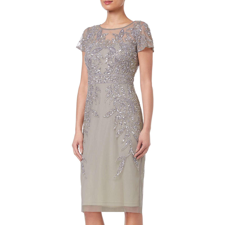 Adrianna Papell Short Sleeve Beaded Cocktail Dress, Platinum at John ...