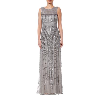 Adrianna Papell Long Beaded Dress, Platinum