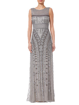 Buy Adrianna Papell Long Beaded Dress, Platinum, 8 Online at johnlewis.com