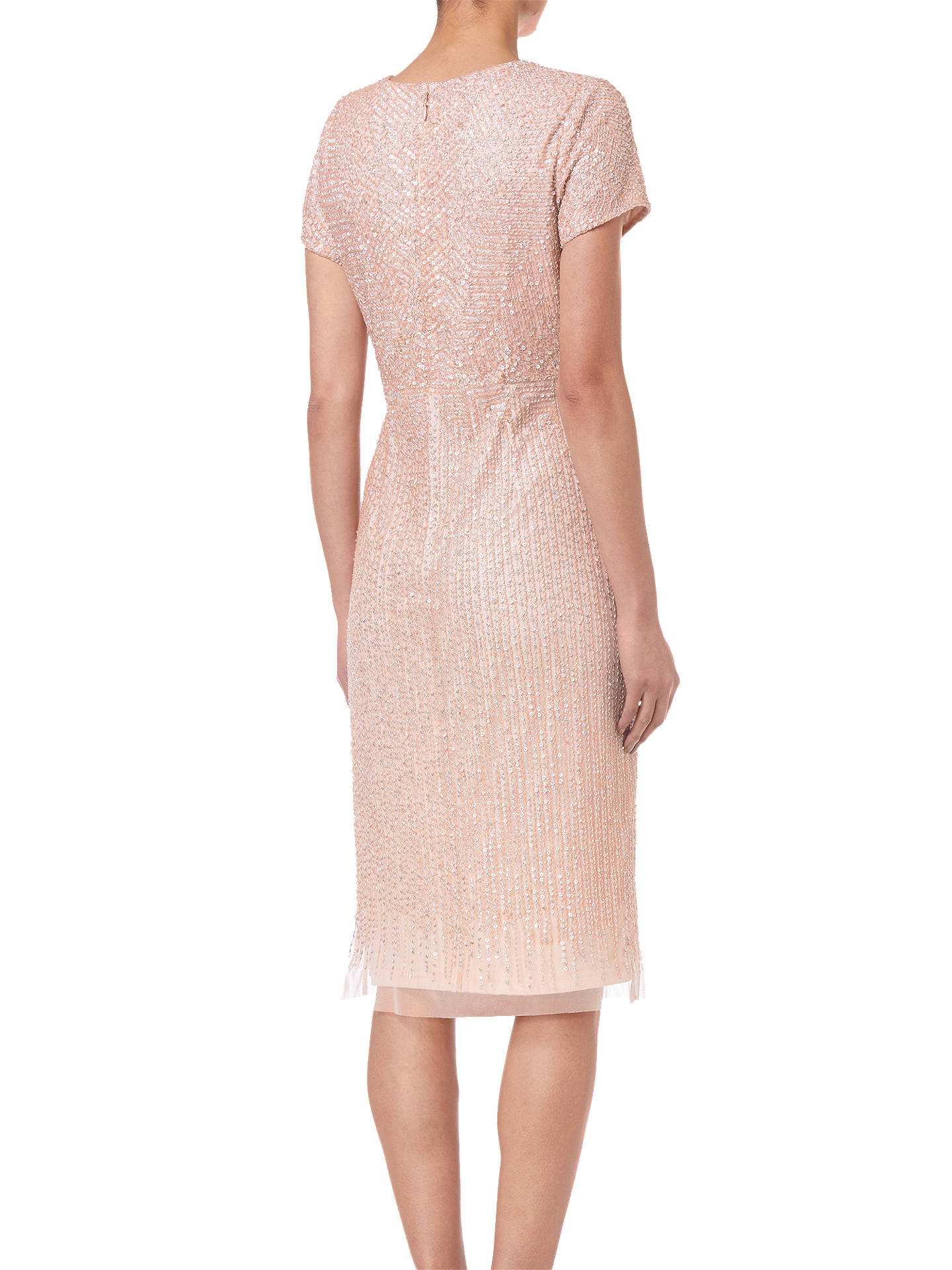 Buy Adrianna Papell Shell Beaded Short Dress, Shell, 8 Online at johnlewis.com