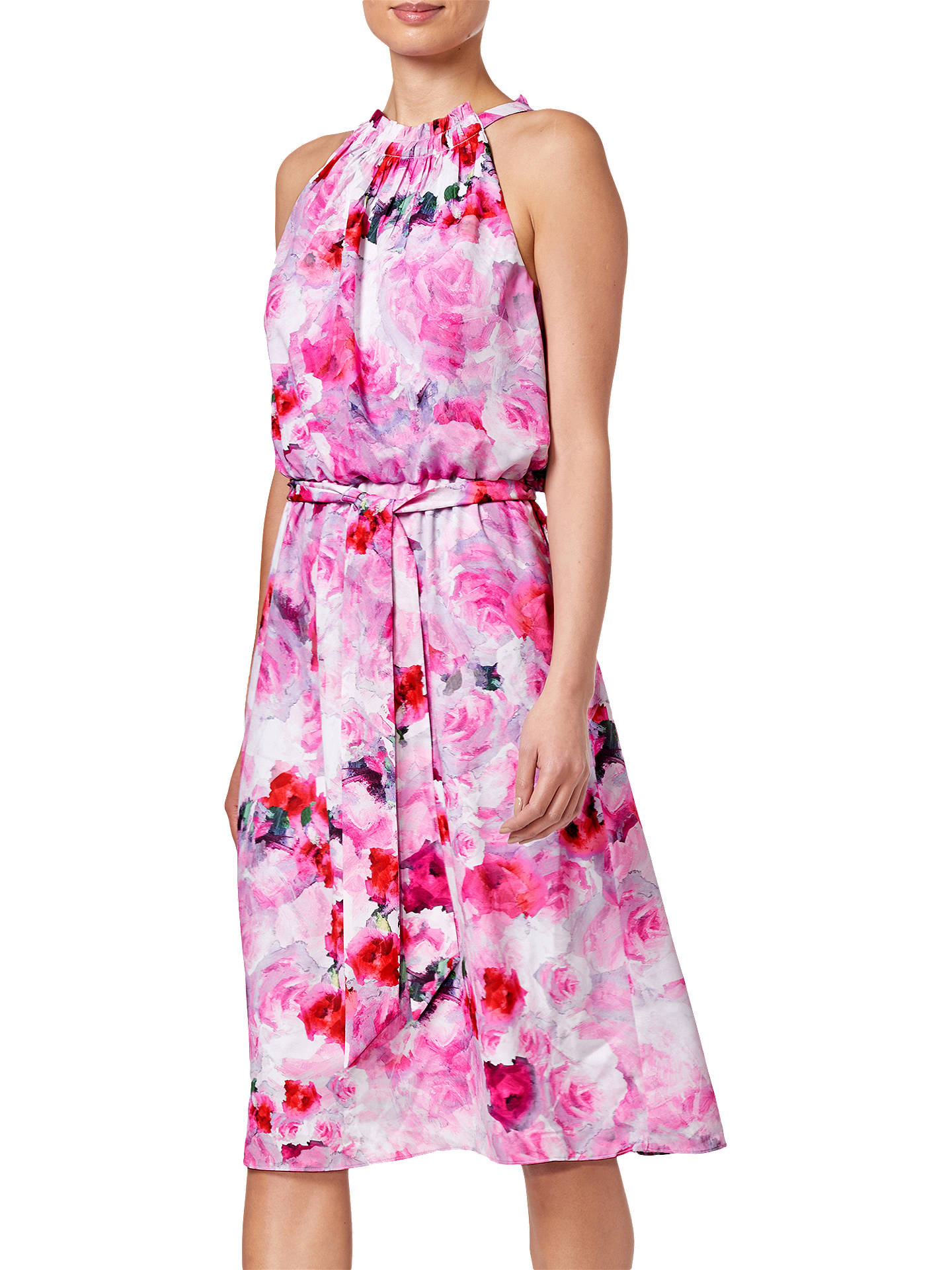 BuyAdrianna Papell Blurred Roses Halter Dress, Pink Multi, 8 Online at johnlewis.com