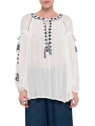 French Connection Edessa Folk Top, Summer White
