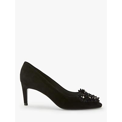 Image of Peter Kaiser Robin Floral Embellished Stiletto Heel Court Shoes, Black Suede