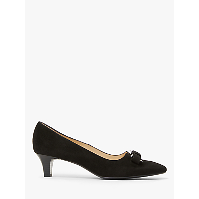 Peter Kaiser Saris Pointed Toe Bow Court Shoes, Black Suede