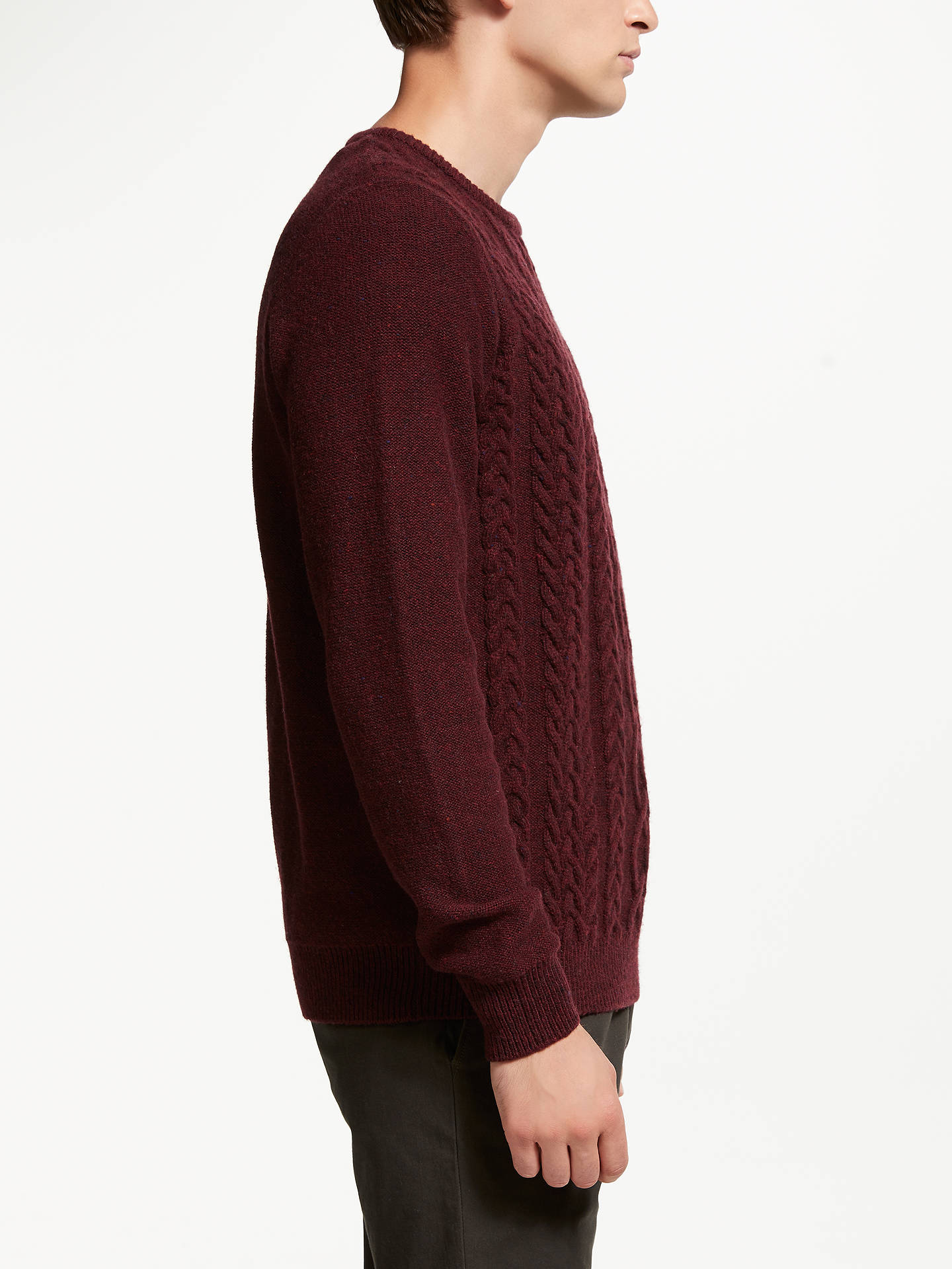 BuyJohn Lewis & Partners Cable Crew Neck Jumper, Red, L Online at johnlewis.com