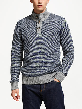 Buy John Lewis & Partners Frosty Stripe Button Neck Jumper, Blue, L Online at johnlewis.com