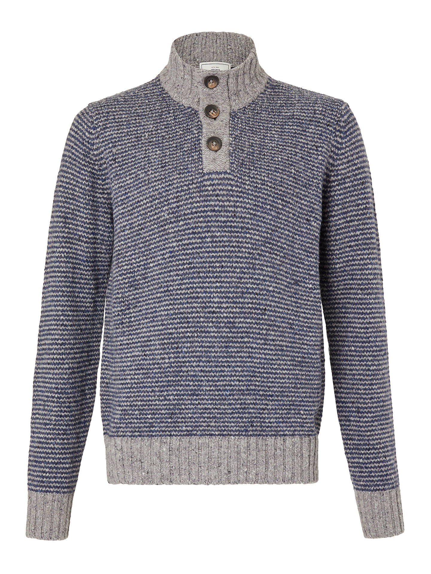 BuyJohn Lewis & Partners Frosty Stripe Button Neck Jumper, Blue, L Online at johnlewis.com