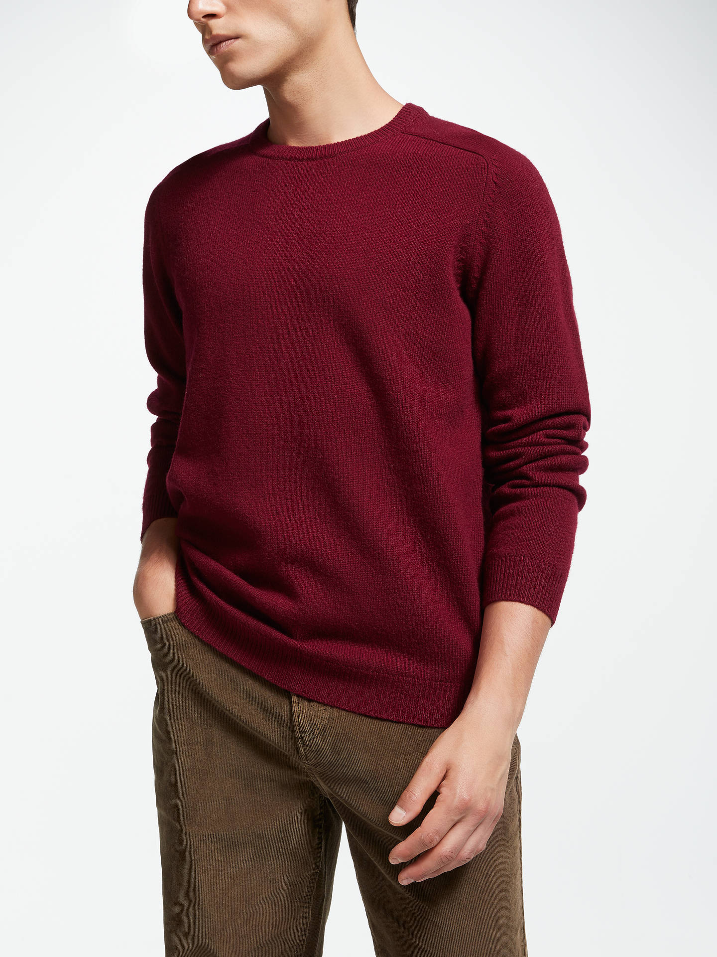 10946ae8a2 John Lewis & Partners Lambswool Crew Neck Knit Jumper, Red. View product  description
