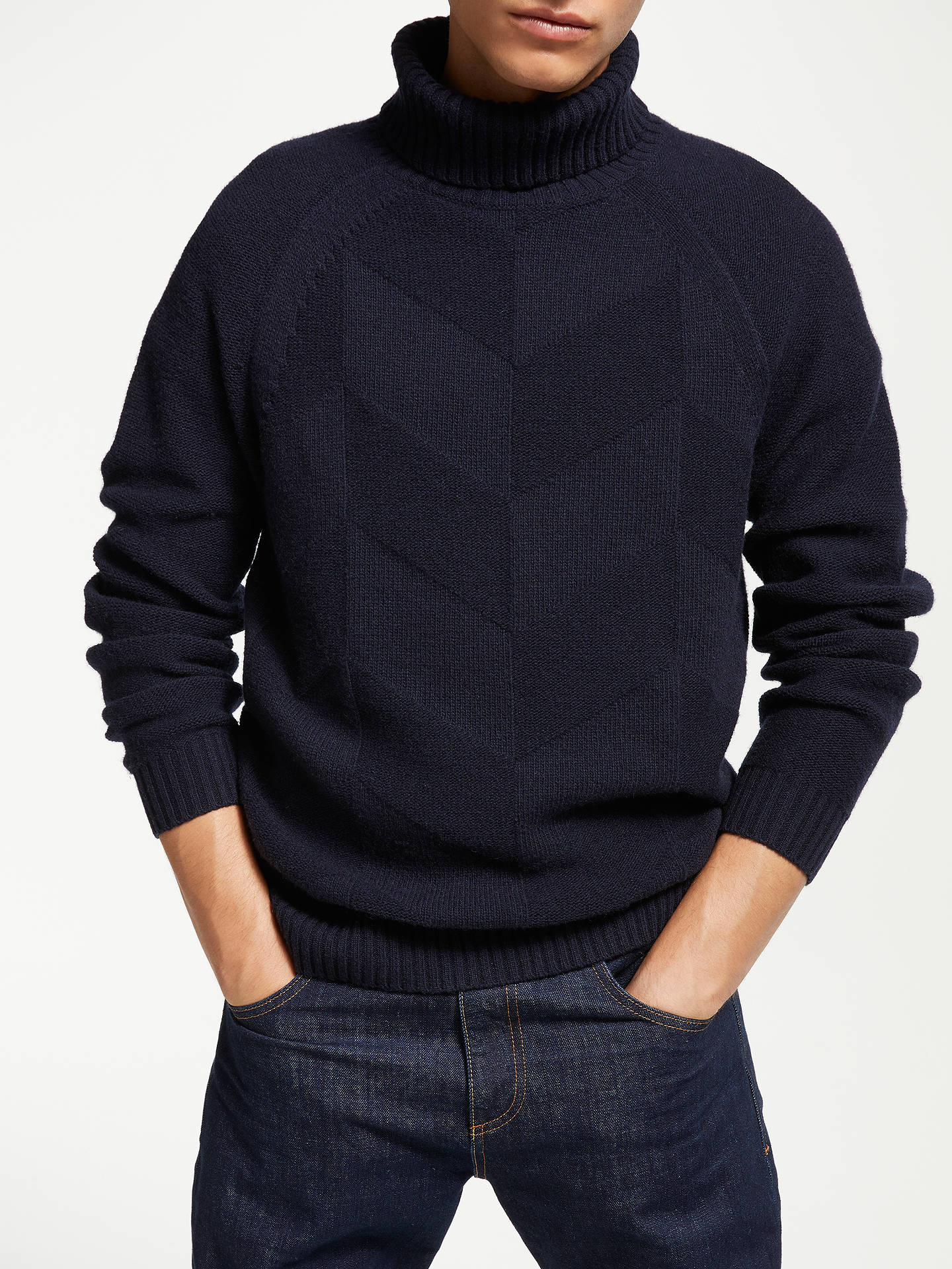 Buy John Lewis & Partners Chevron Roll Neck Jumper, Navy, M Online at johnlewis.com