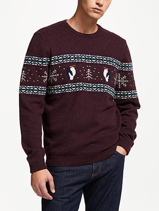Buy John Lewis & Partners Christmas Lambswool Charity Penguin Jumper, Red, M Online at johnlewis.com