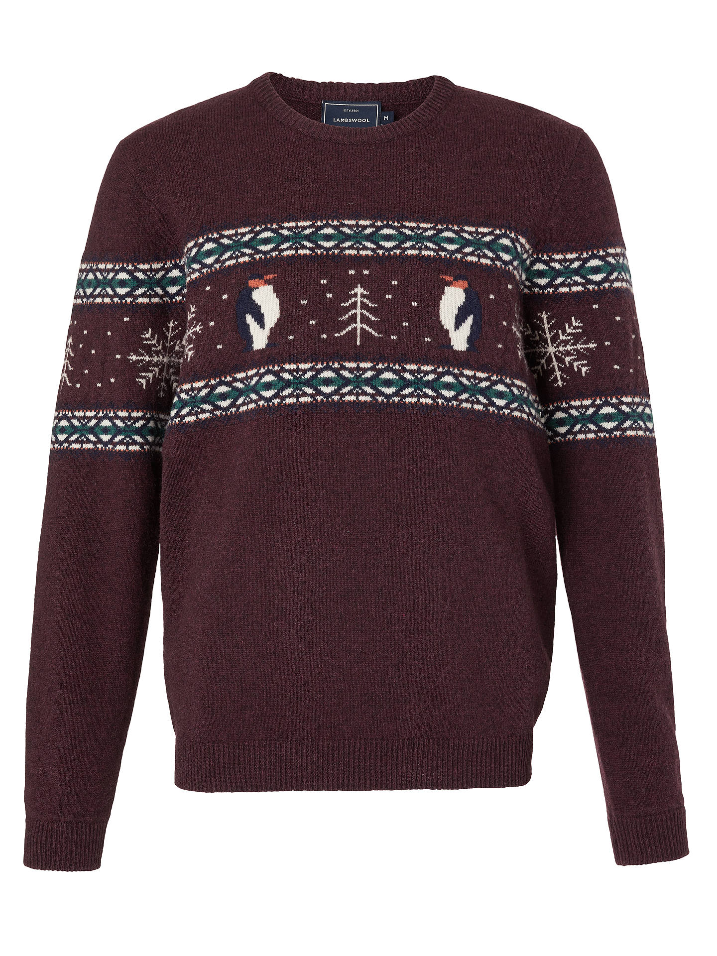 BuyJohn Lewis & Partners Christmas Lambswool Charity Penguin Jumper, Red, M Online at johnlewis.com