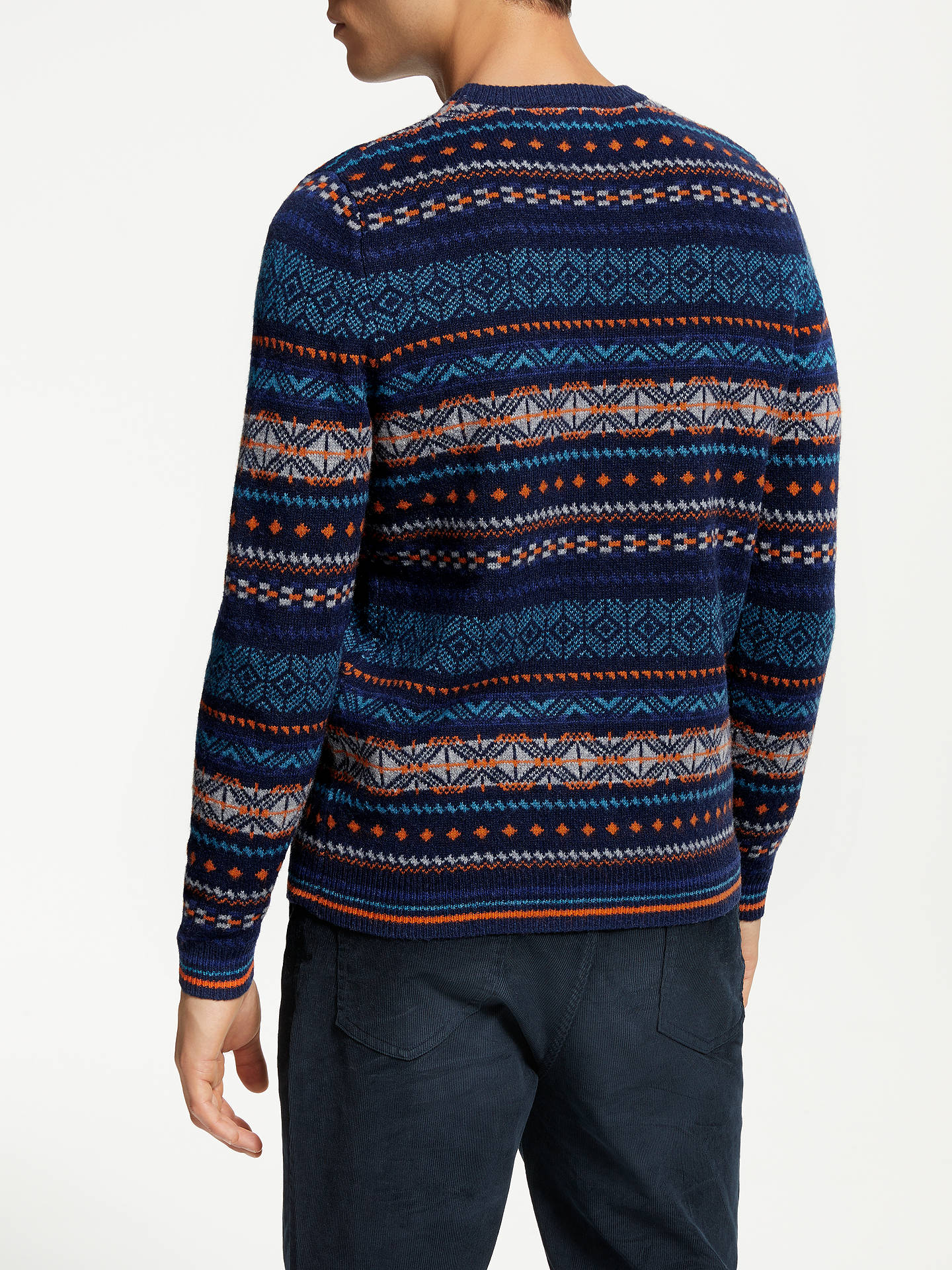 Buy John Lewis & Partners Geometric Lambswool Fair Isle Knit Jumper, Blue, M Online at johnlewis.com