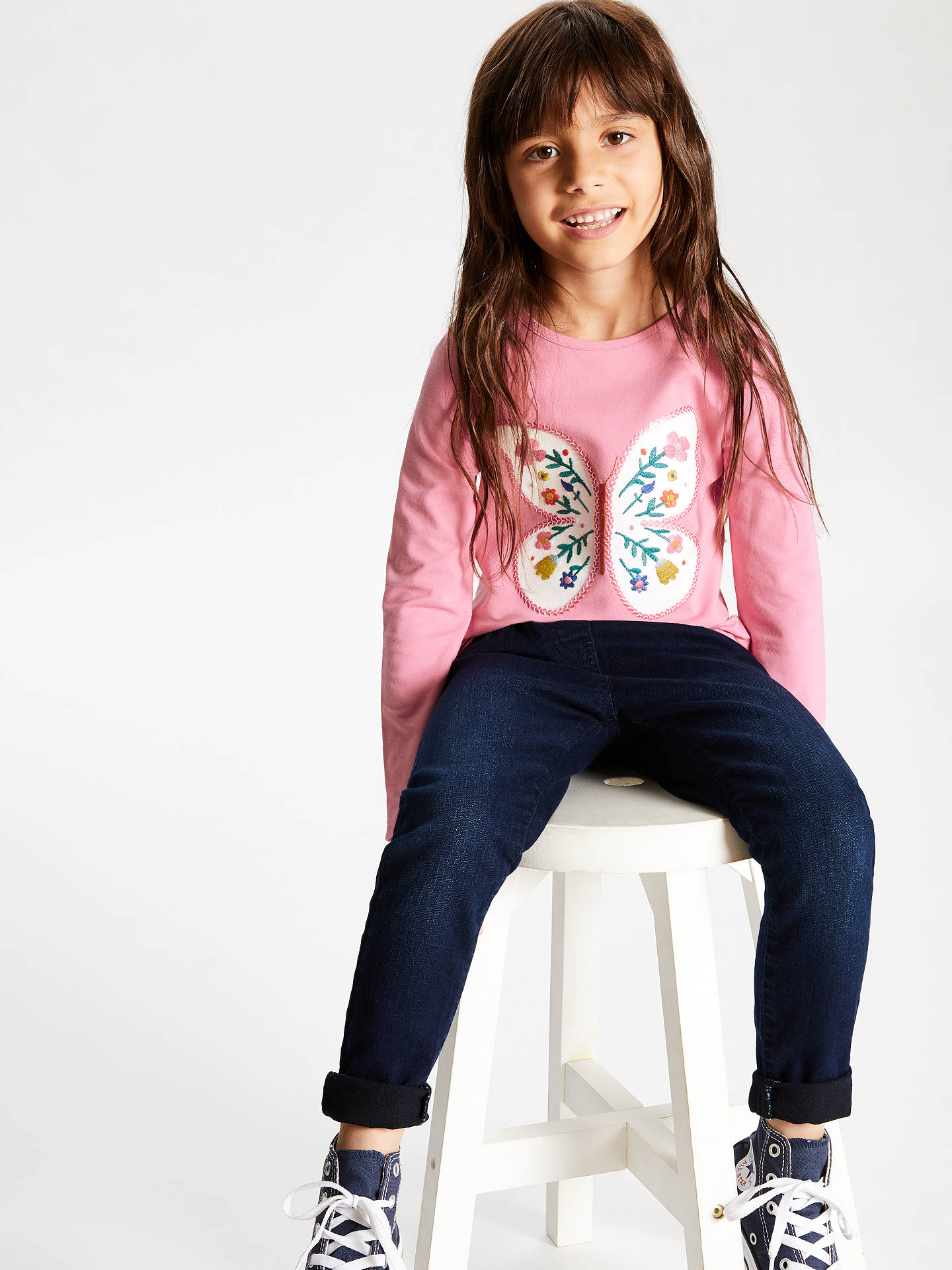 BuyJohn Lewis & Partners Girls' Floral Butterfly Top, Pink, 8 years Online at johnlewis.com