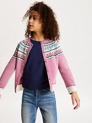 Buy John Lewis & Partners Girls' Fair Isle Cardigan, Pink, 2 years Online at johnlewis.com
