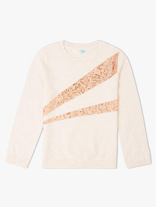 Buy John Lewis & Partners Girls' Sequin Jumper, Oatmeal, 3 years Online at johnlewis.com