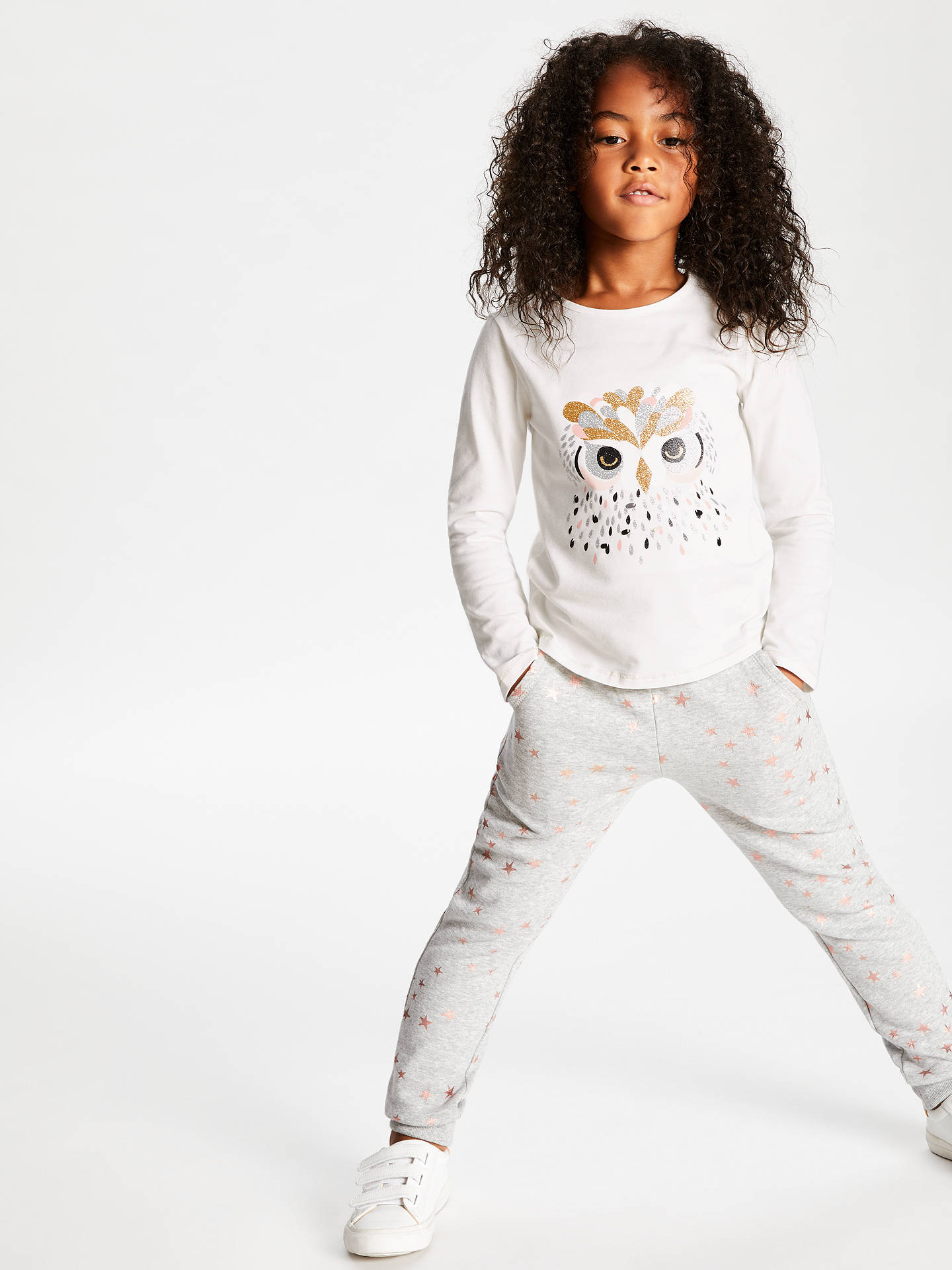 BuyJohn Lewis & Partners Girls' Glitter Owl T-Shirt, Gardenia, 3 years Online at johnlewis.com