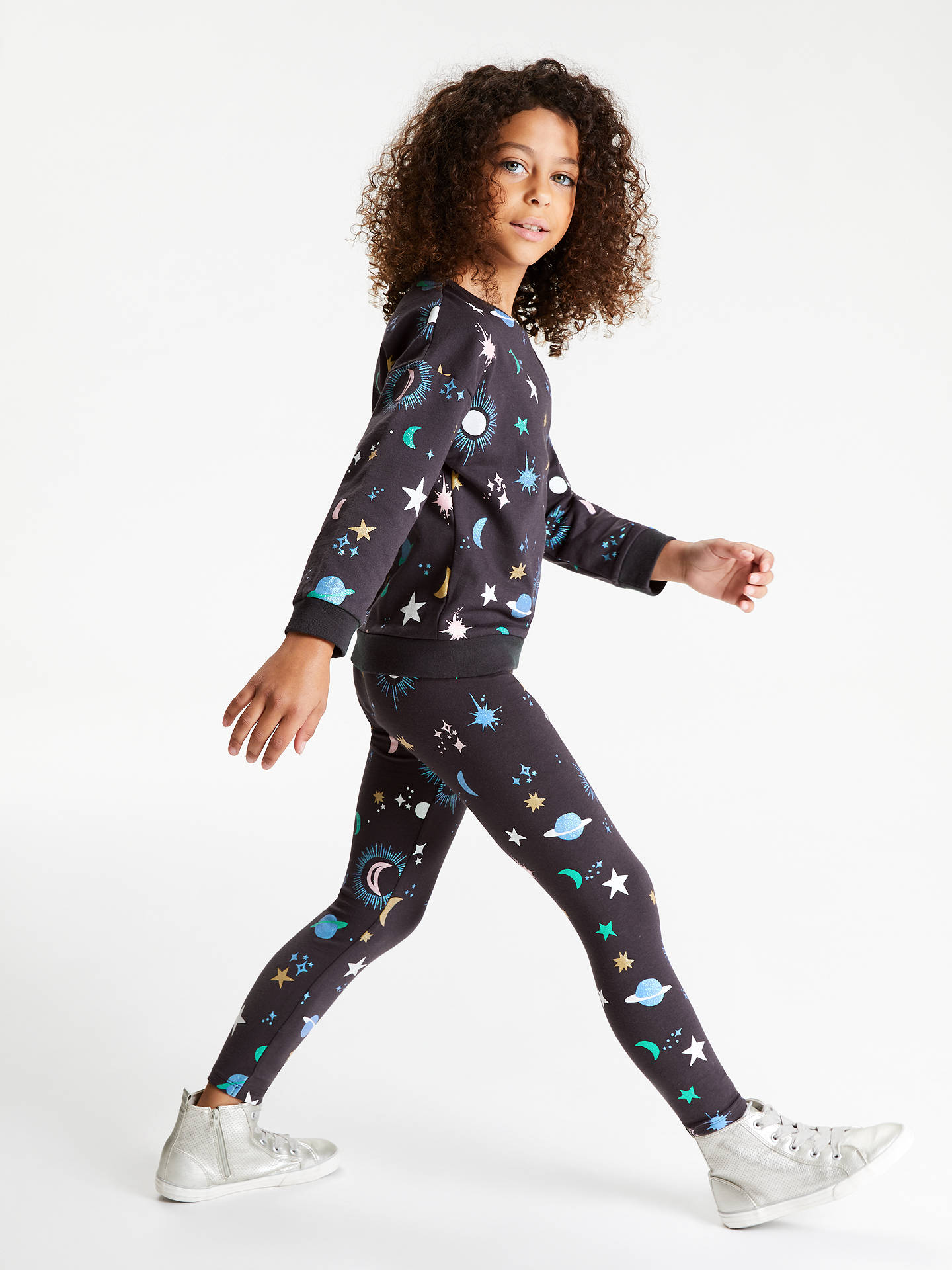 Buy John Lewis & Partners Girls' Star and Moon Leggings, Charcoal, 2 years Online at johnlewis.com