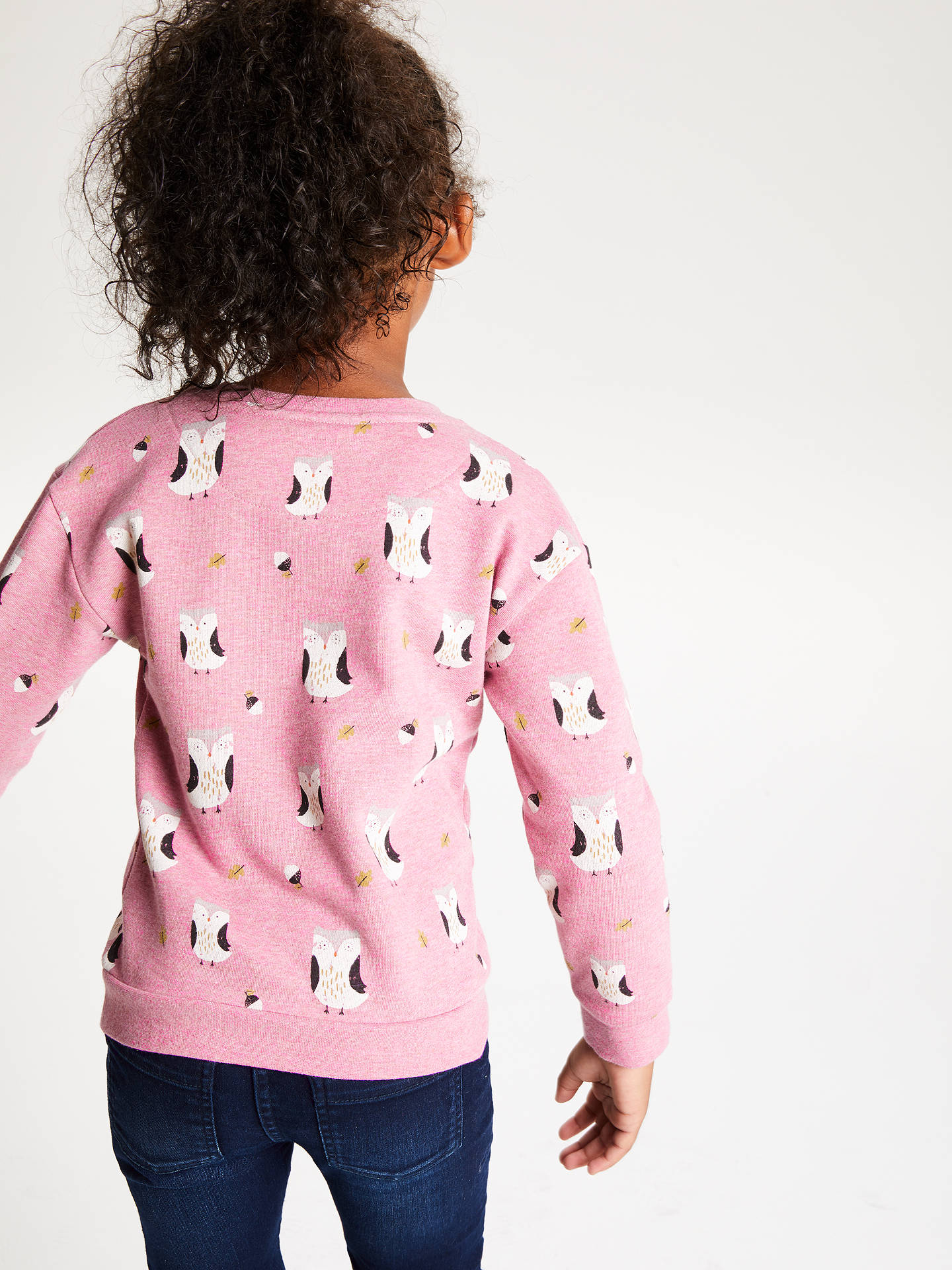 Buy John Lewis & Partners Girls' Owl Sweatshirt, Pink, 4 years Online at johnlewis.com