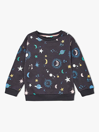 Buy John Lewis & Partners Girls' Star and Moon Sweatshirt, Charcoal, 4 years Online at johnlewis.com