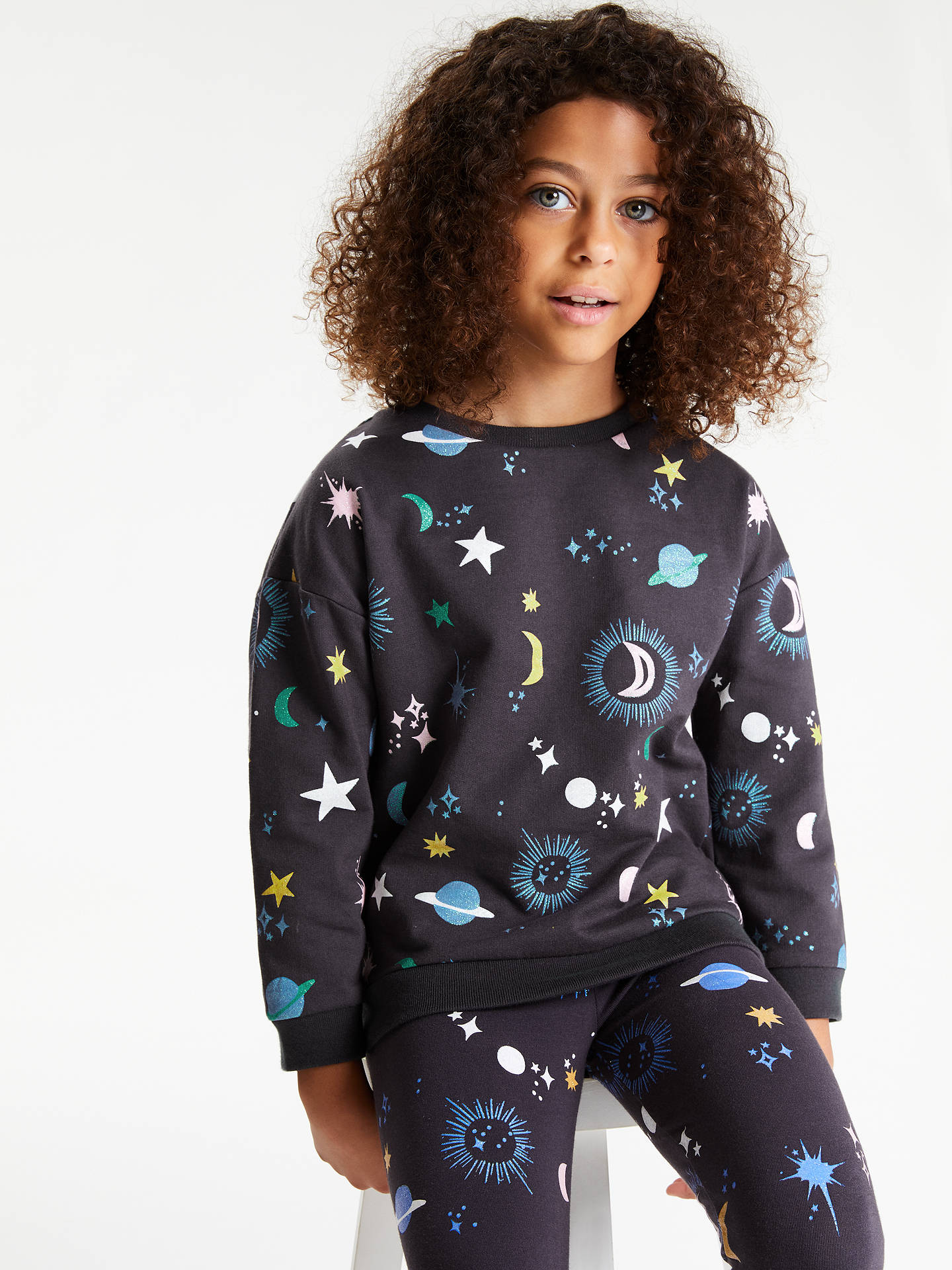 BuyJohn Lewis & Partners Girls' Star and Moon Sweatshirt, Charcoal, 2 years Online at johnlewis.com
