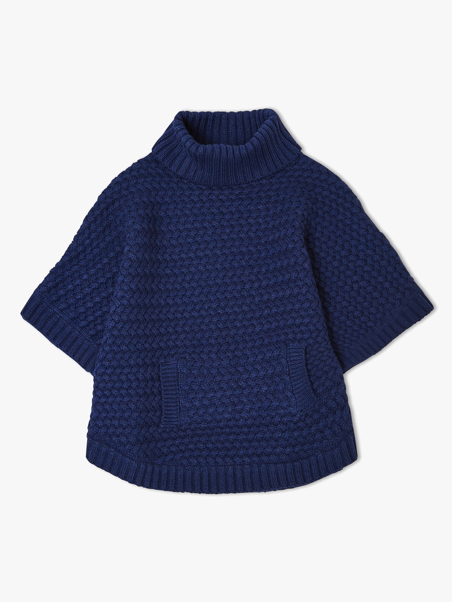 BuyJohn Lewis & Partners Girls' Knitted Poncho, Navy, 3-4 years Online at johnlewis.com