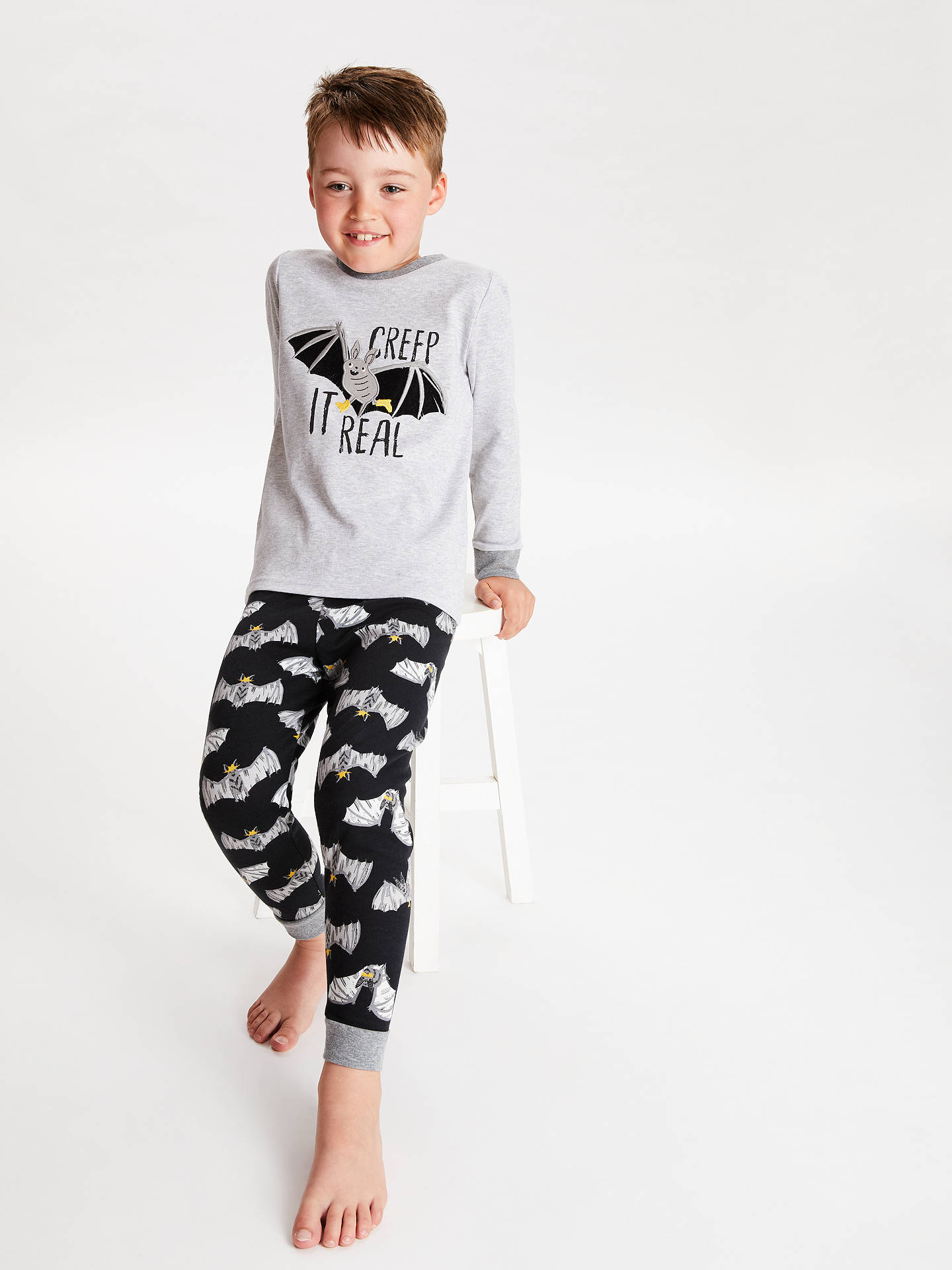 BuyJohn Lewis & Partners Children's Bat Pyjamas, Black/Grey, 2 years Online at johnlewis.com