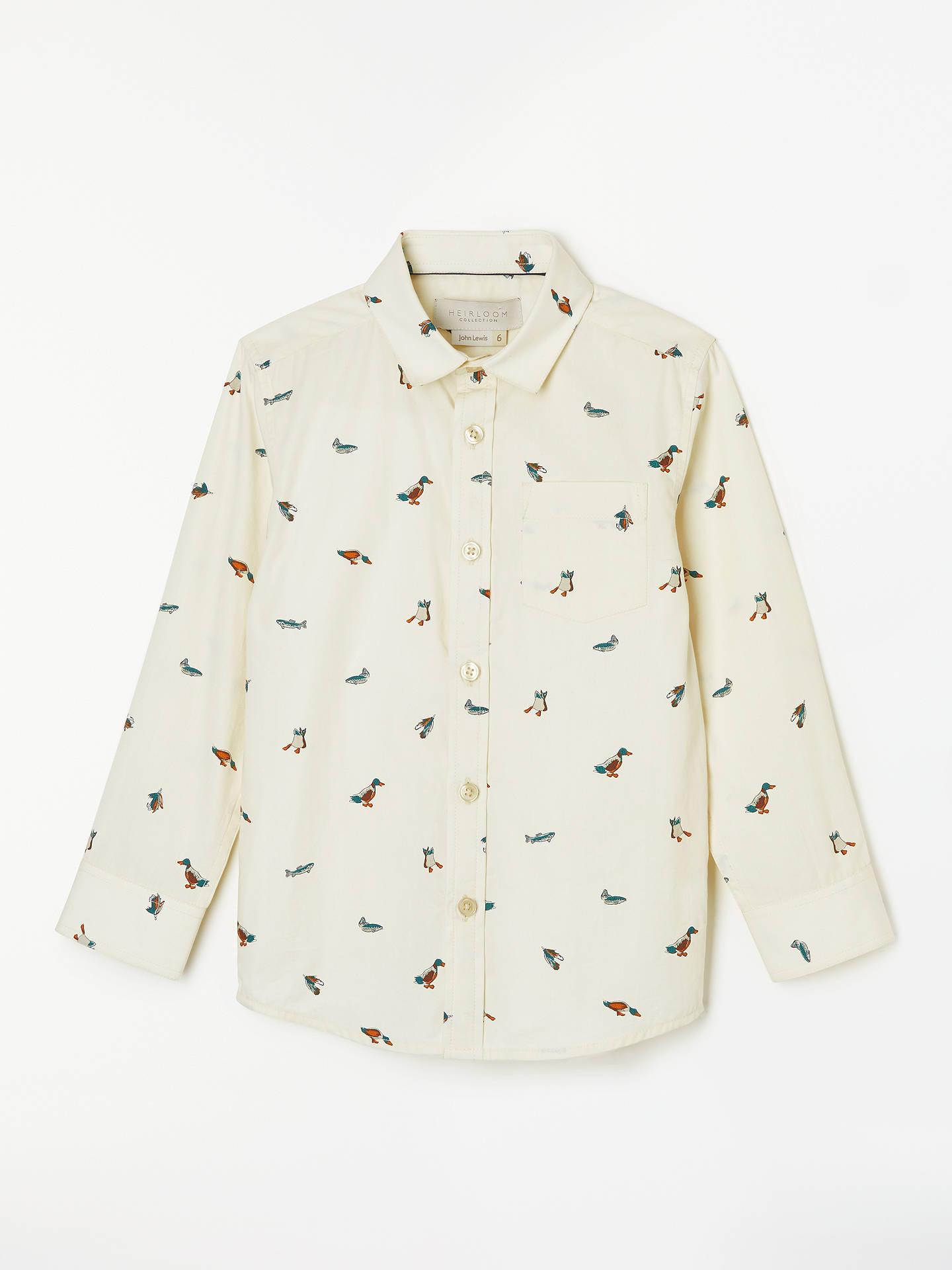 9f61fe52c Buy John Lewis & Partners Heirloom Collection Boys' Duck Shirt,  Cream/Multi, ...