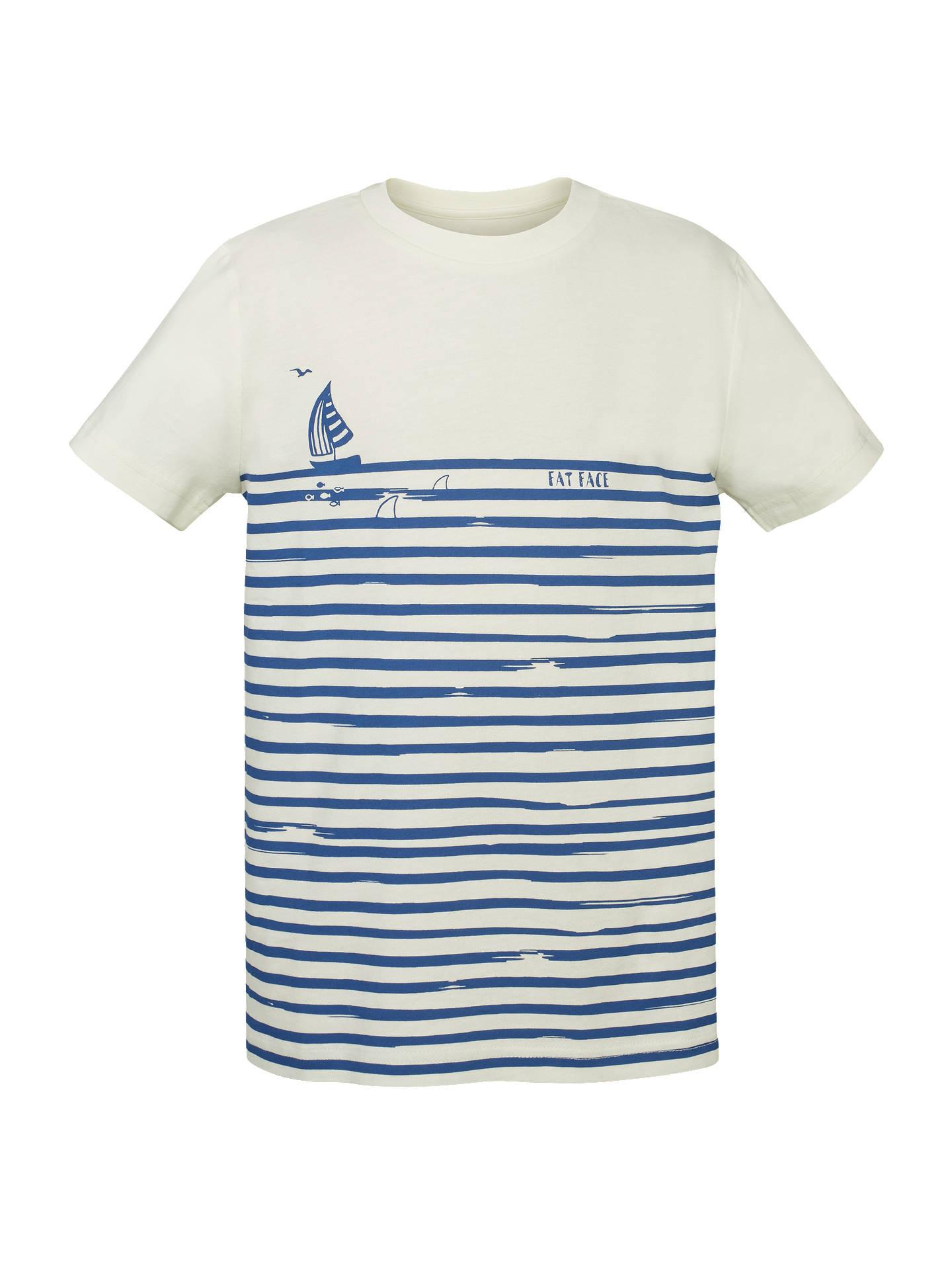 Fat Face Boys\' Short Sleeve Stripe Sailing T-Shirt, Blue/Ecru at ...