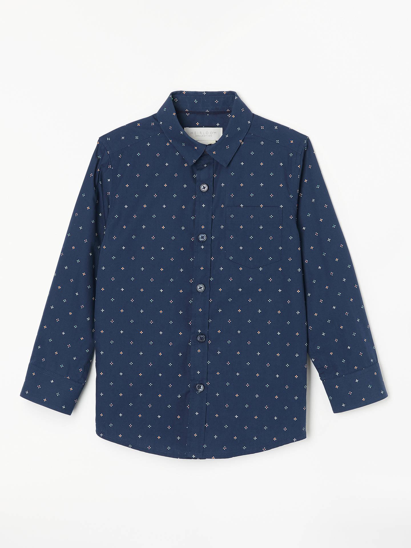 c68db70a1 Buy John Lewis & Partners Heirloom Collection Boys' Geo Print Shirt, Navy,  2 ...