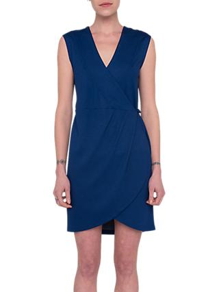 French Connection Lula Ponte Sleeveless Wrap Mini Dress, Blue