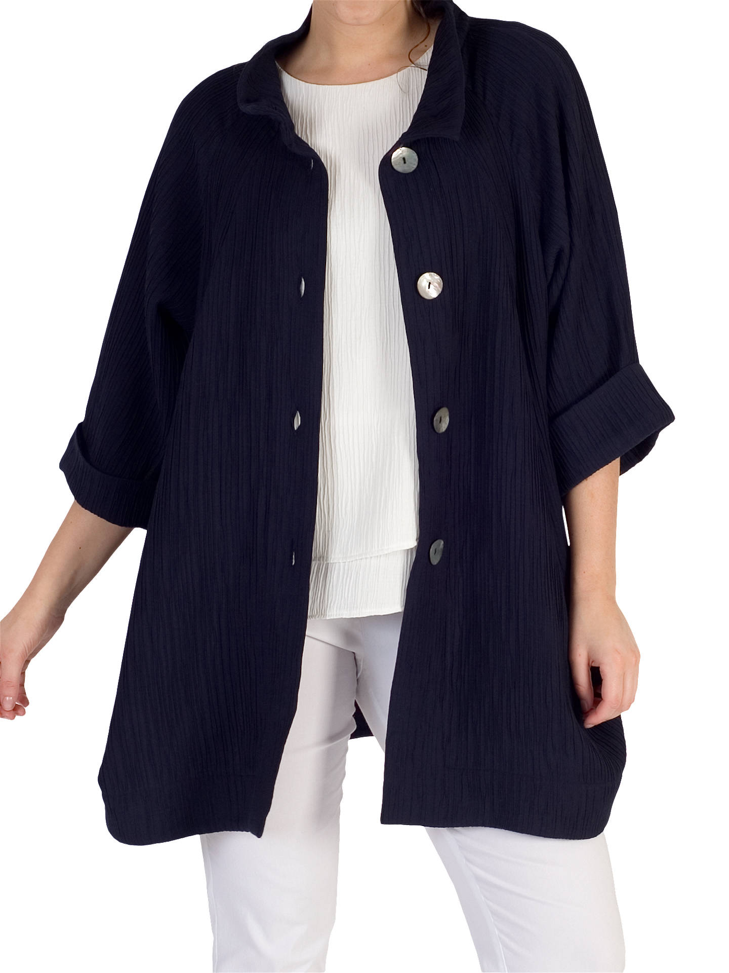 BuyChesca Textured Jacquard Coat, Navy, 12-14 Online at johnlewis.com