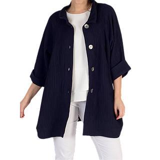 Chesca Textured Jacquard Coat, Navy