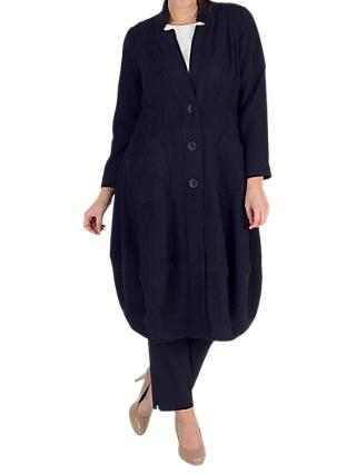 Chesca Textured Jacquard Notch Neck Coat, Navy