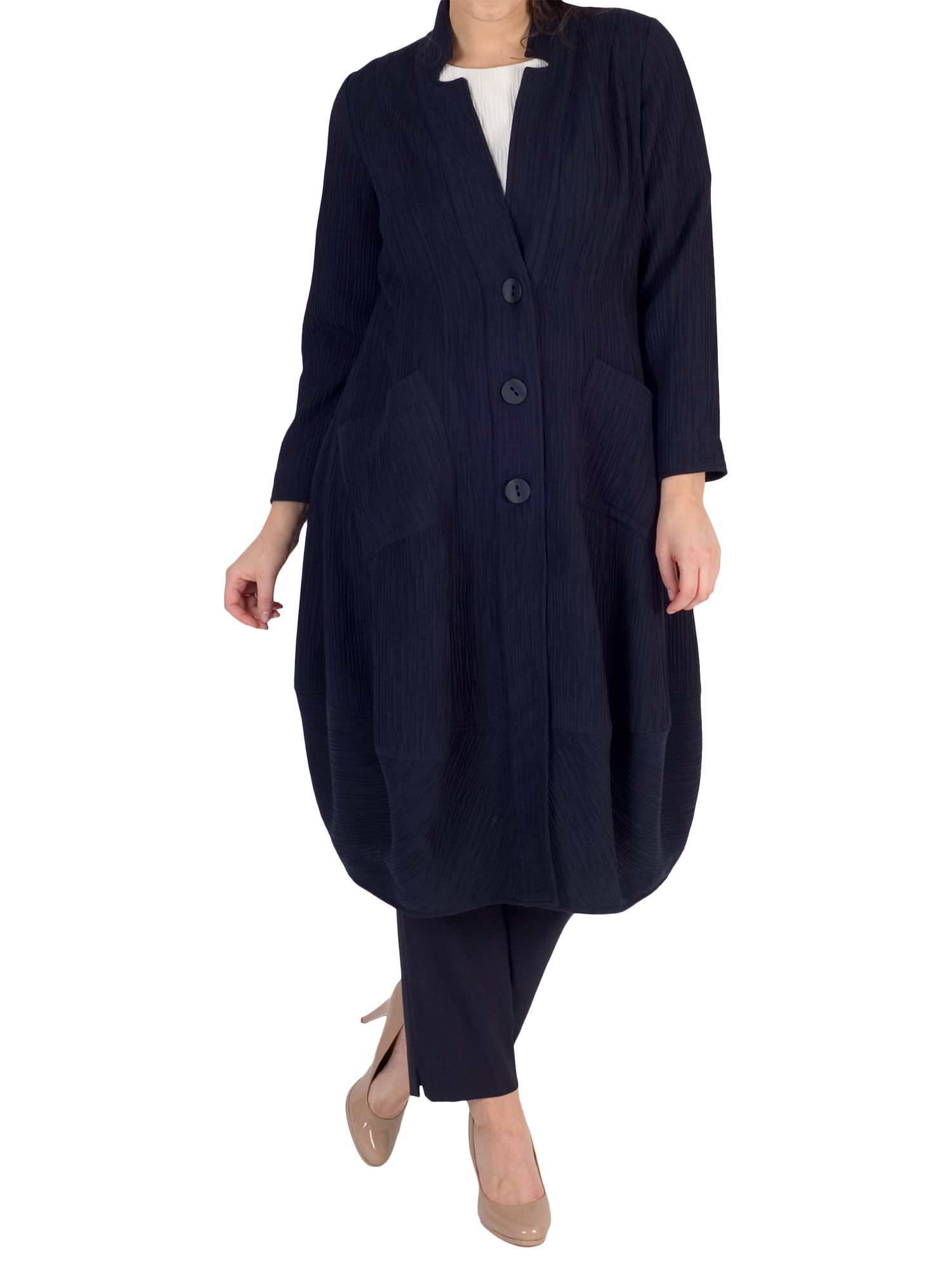 Chesca Chesca Textured Jacquard Notch Neck Coat, Navy
