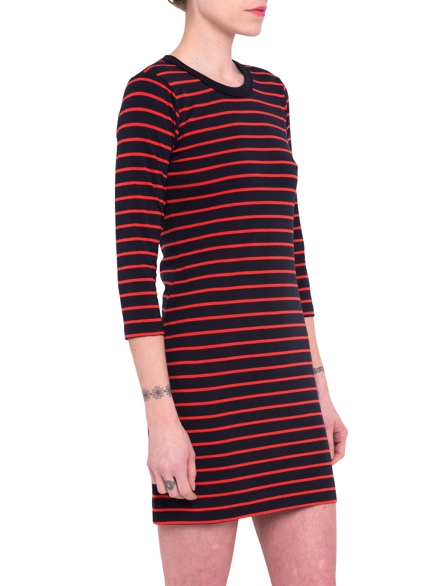 Buy French Connection Tim Tim Striped Dress, Black/Red, M Online at johnlewis.com