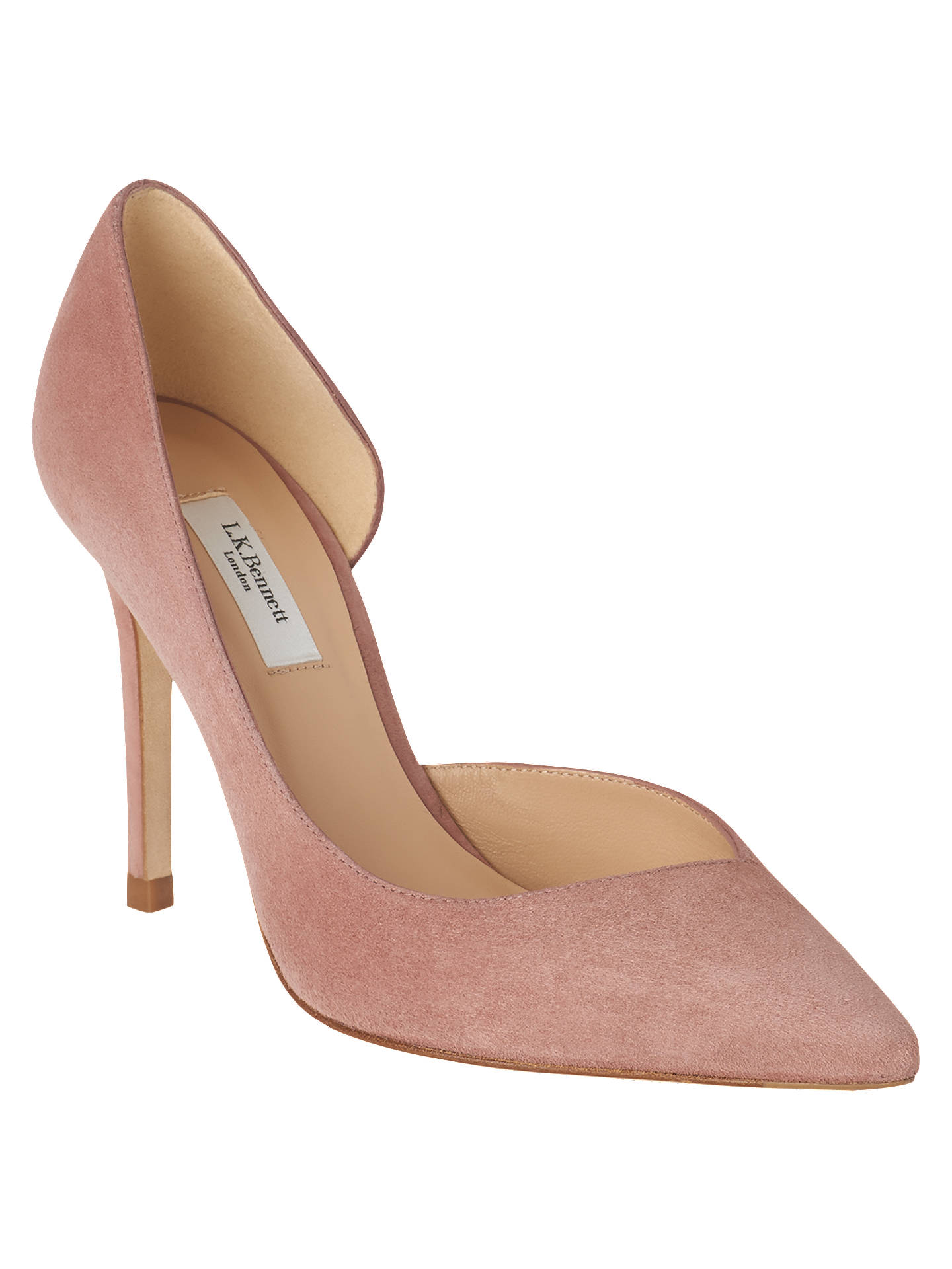 062d6c8c16375 Buy L.K.Bennett Zara Open Stiletto Heel Court Shoes, Pink Suede, 2 Online  at ...