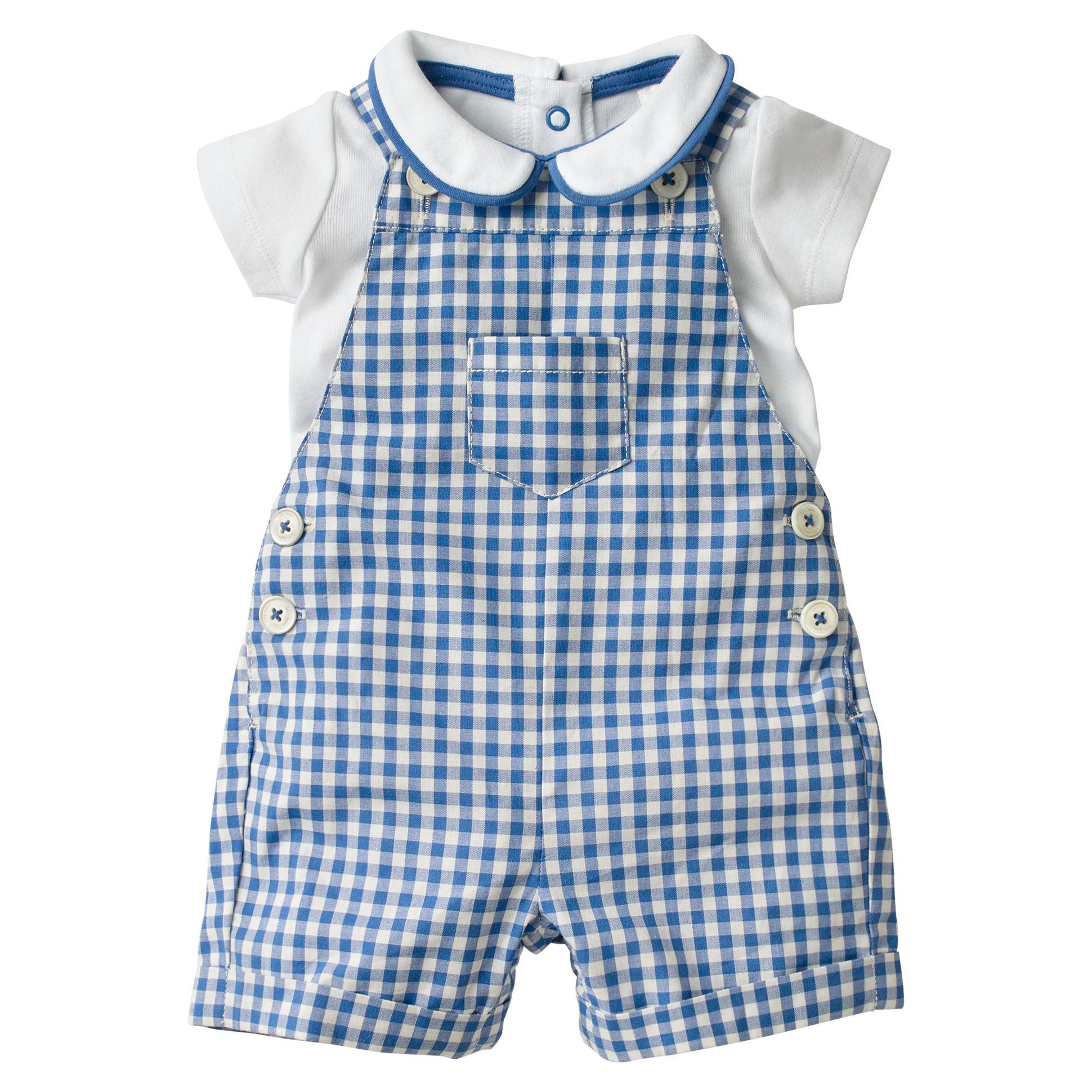 dbb961fe1d08ab Mini Boden Baby Gingham Dungaree Set, Blue at John Lewis & Partners