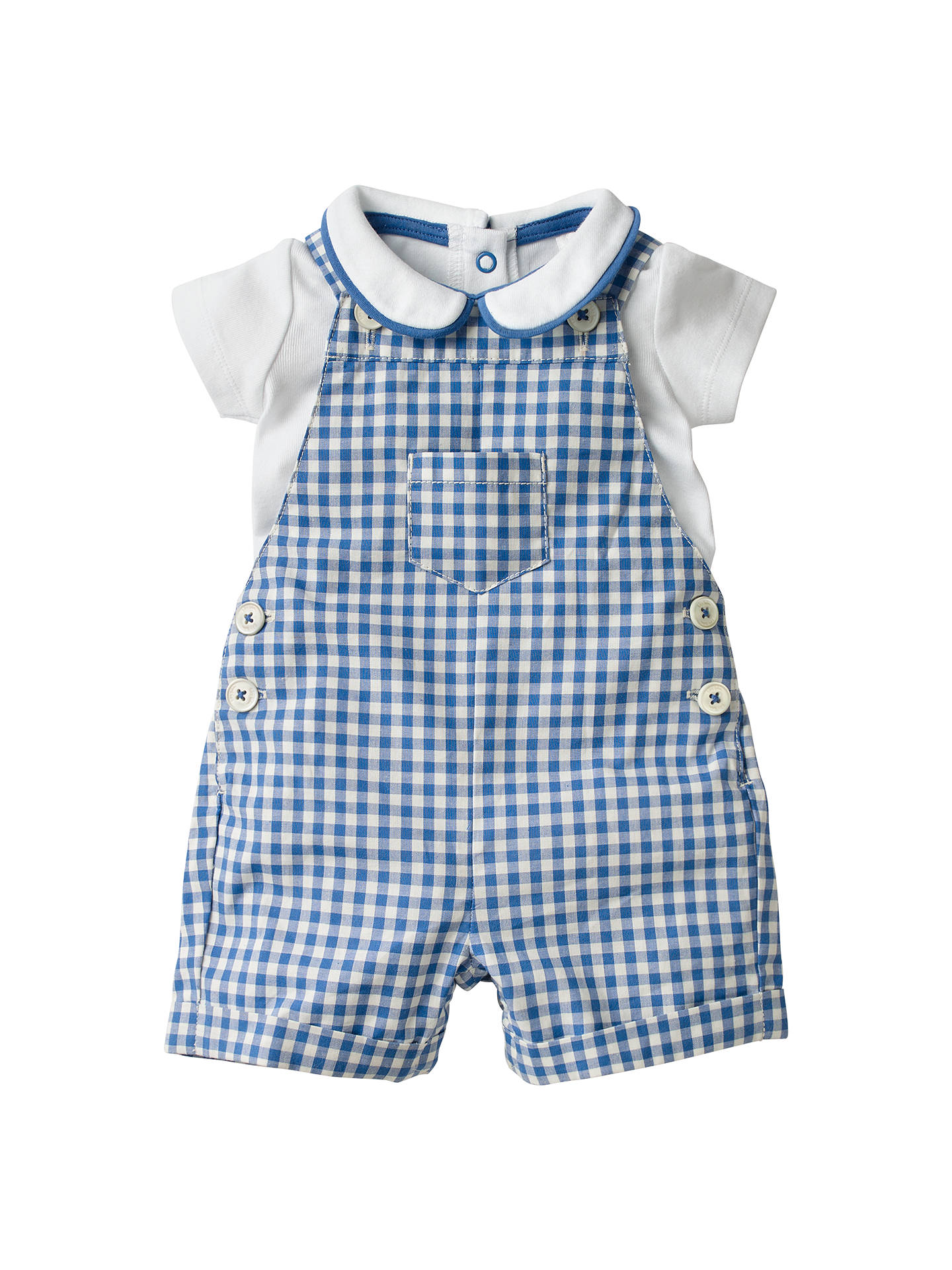 3fc19fe568ae8f Buy Mini Boden Baby Gingham Dungaree Set, Blue, 0-3 months Online at ...