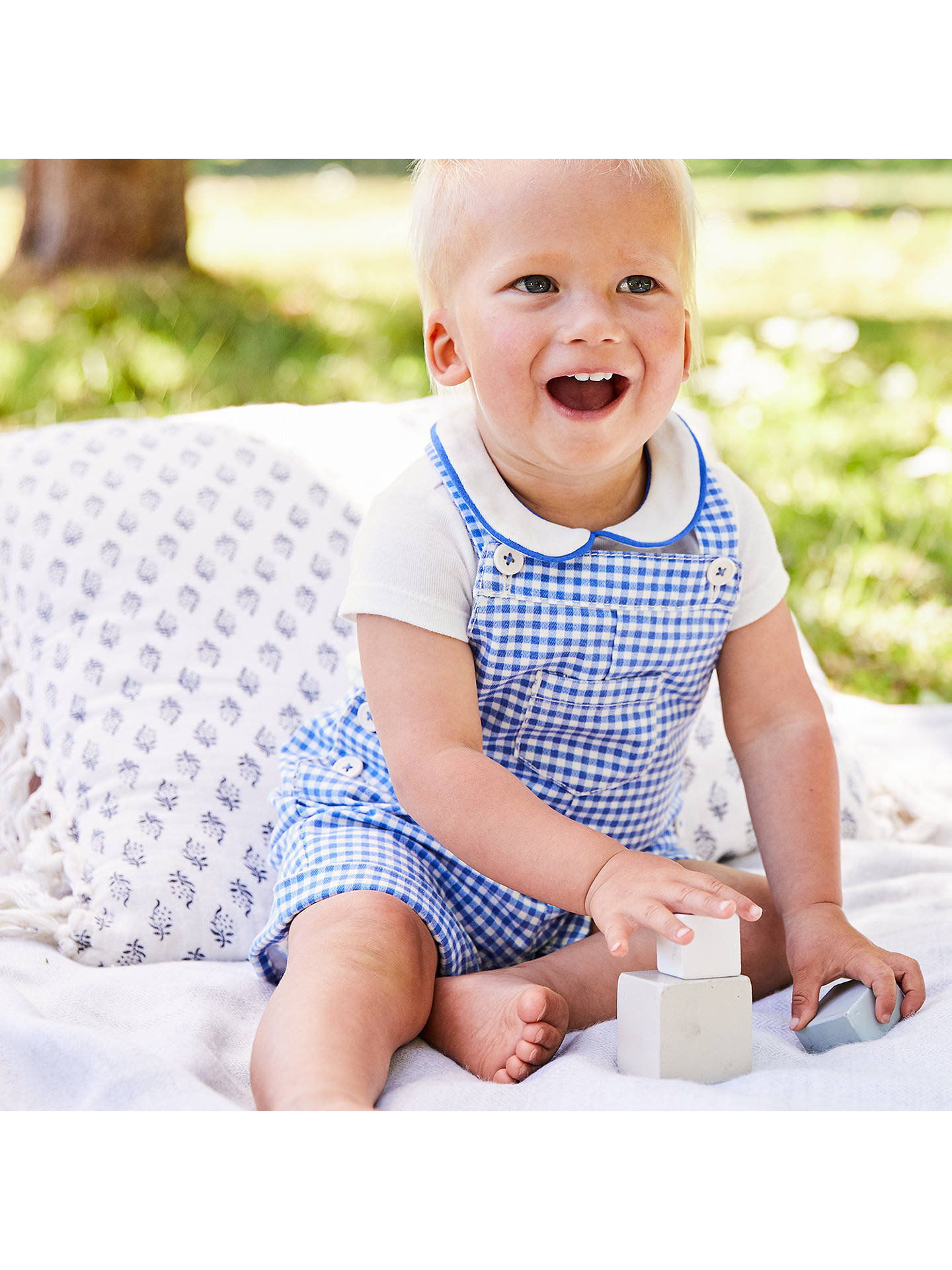 c3f01b7211495f ... Buy Mini Boden Baby Gingham Dungaree Set, Blue, 0-3 months Online at