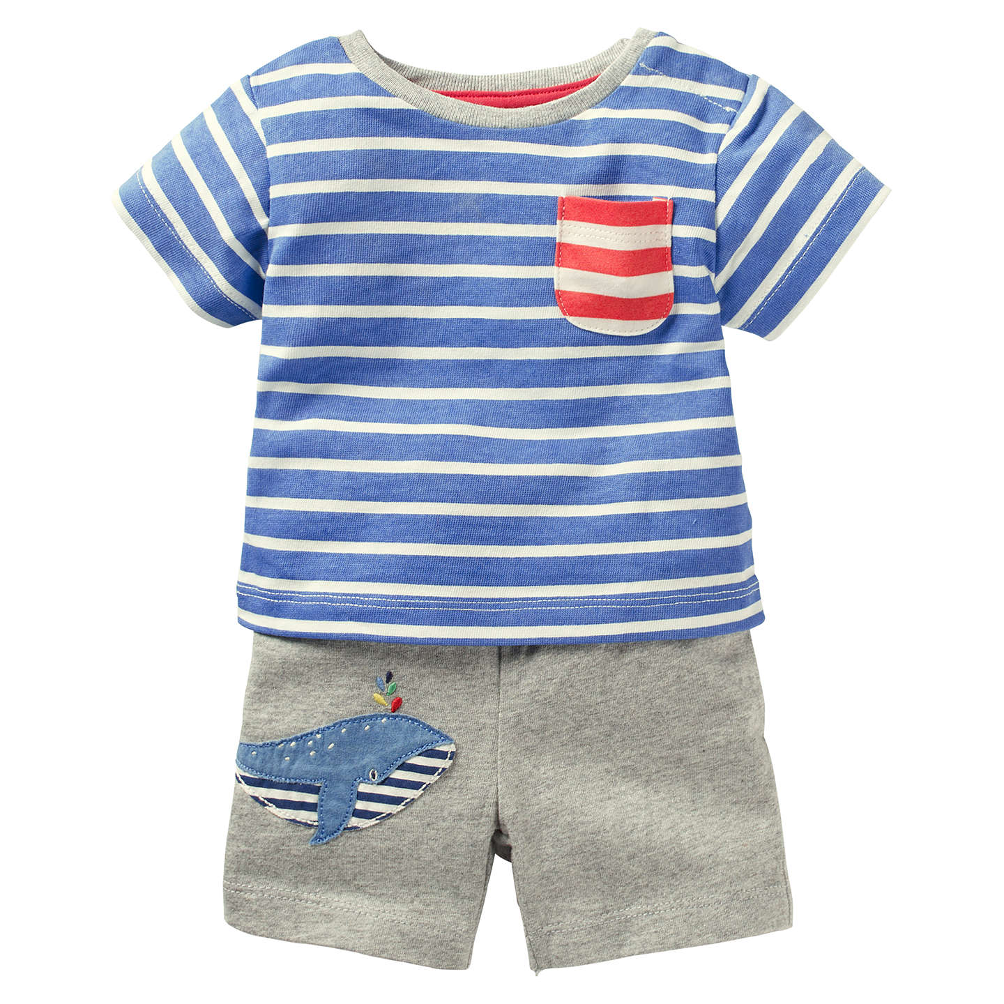 Mini Boden Baby Whale T Shirt and Shorts Set Blue at John Lewis
