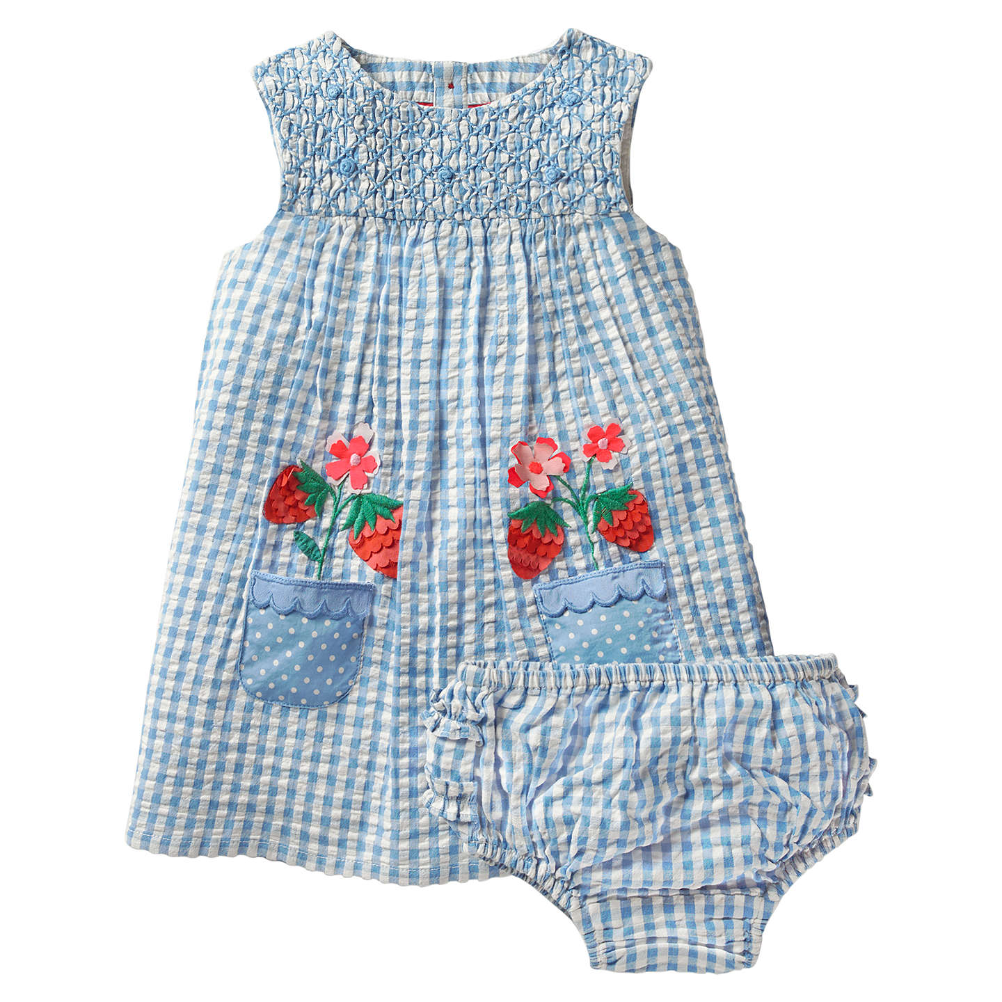 Mini Boden Baby Floral Smock Dress and Knickers Set Blue at John Lewis