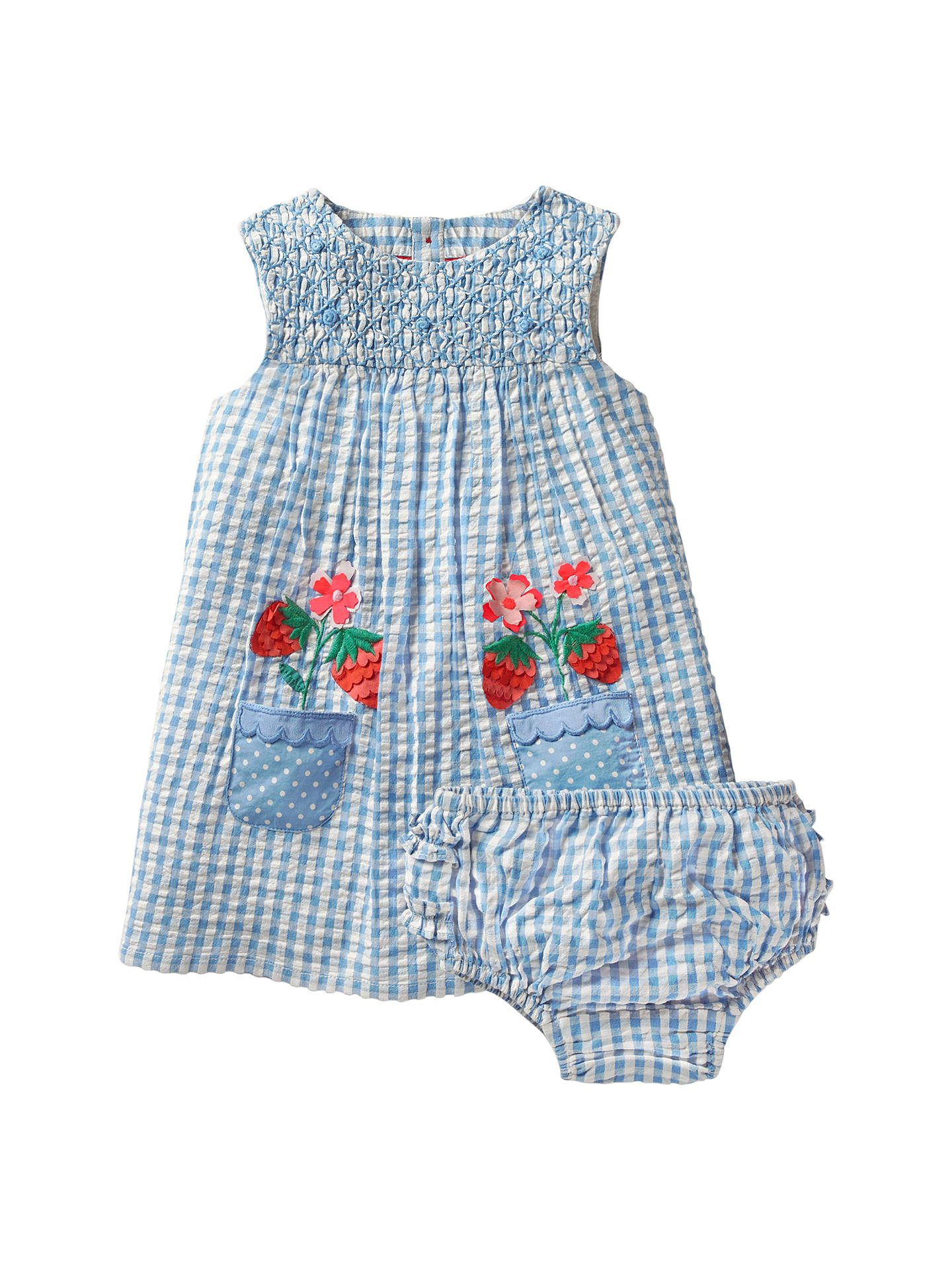 a4b0c5e5e Buy Mini Boden Baby Floral Smock Dress and Knickers Set, Blue, 0-3 ...