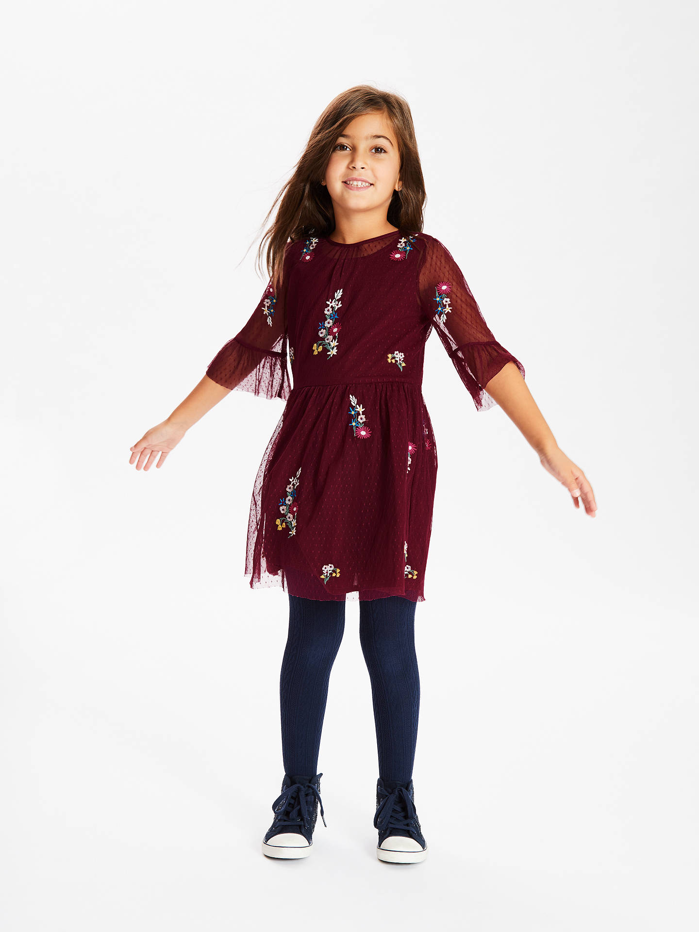 Buy John Lewis & Partners Girls' Embellished Mesh Dress, Burgundy, 2 years Online at johnlewis.com