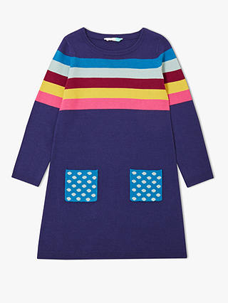 Buy John Lewis & Partners Girls' Stripe Print Knit Dress, Navy/Multi, 2 years Online at johnlewis.com