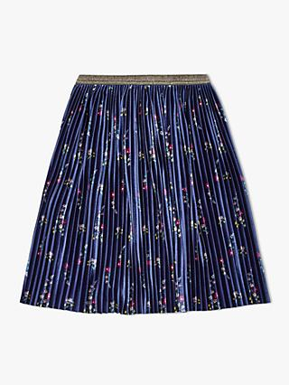 John Lewis & Partners Girls' Floral Print Velvet Skirt, Navy