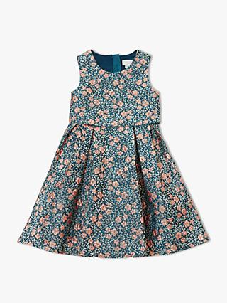 John Lewis & Partners Heirloom Collection Girls' Layered Jacquard Dress, Teal