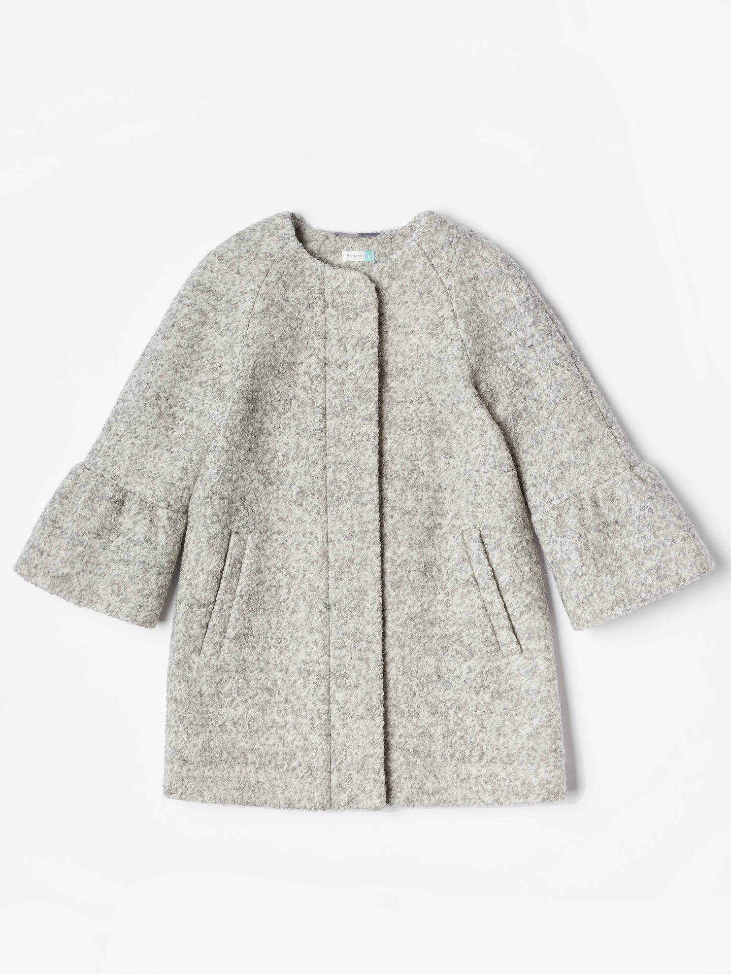 BuyJohn Lewis & Partners Girls' Bell Sleeve Coat, Grey, 2 years Online at johnlewis.com