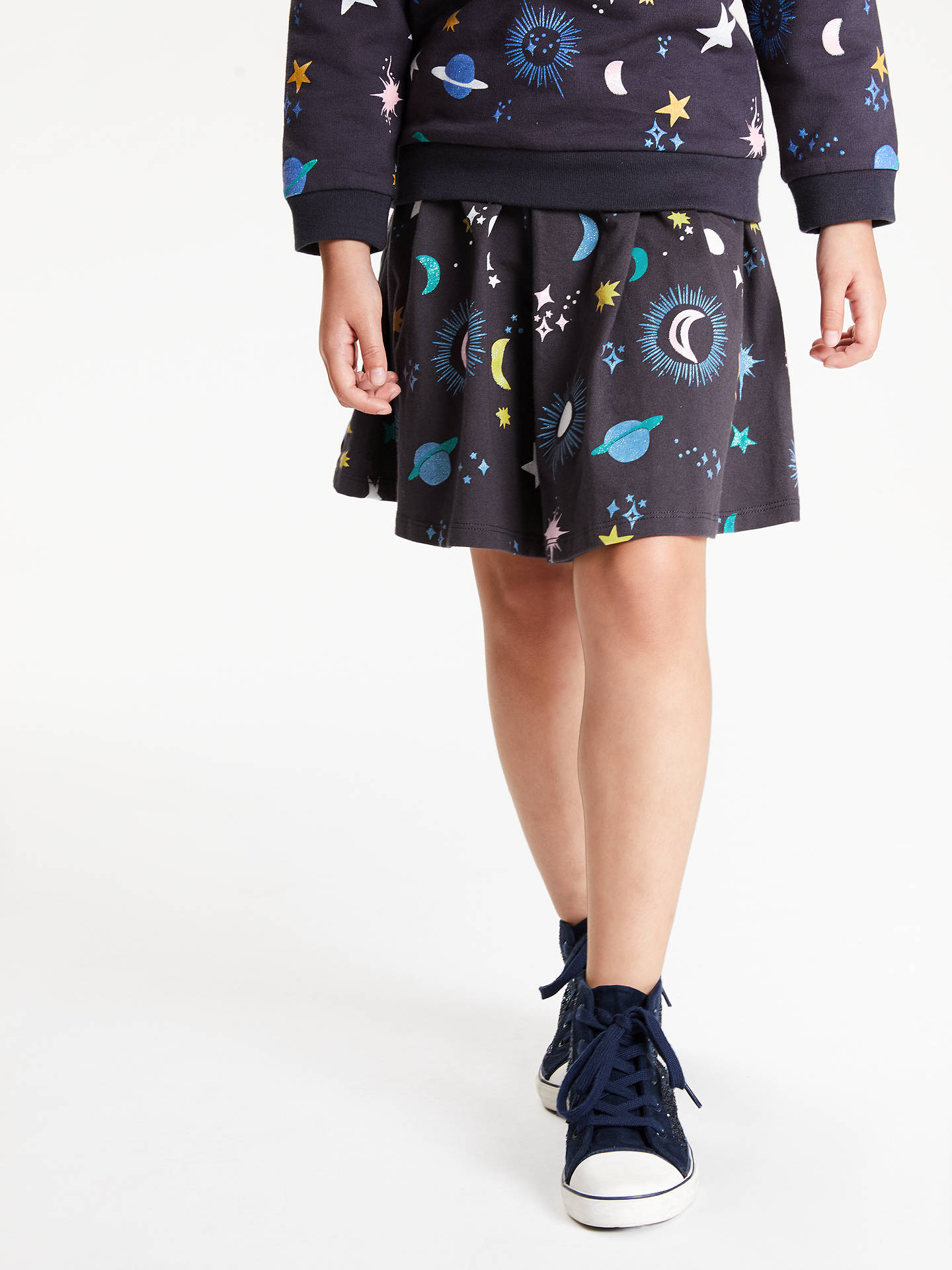 Buy John Lewis & Partners Girls' Star and Moon Jersey Skirt, Charcoal, 2 years Online at johnlewis.com
